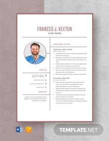 Camp Nurse Resume Template