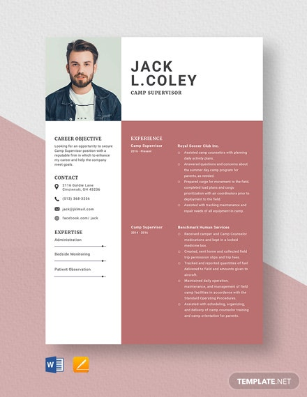 Camp Supervisor Resume Template