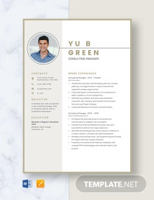 Consulting Manager Resume Template