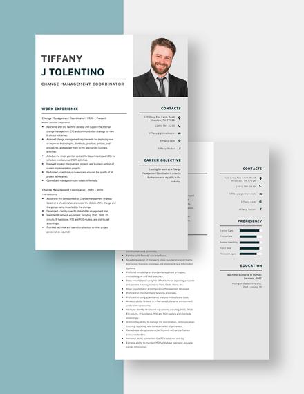Change Management Coordinator Resume Download