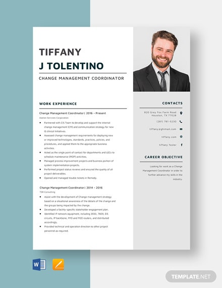 Change Management Coordinator Resume Template