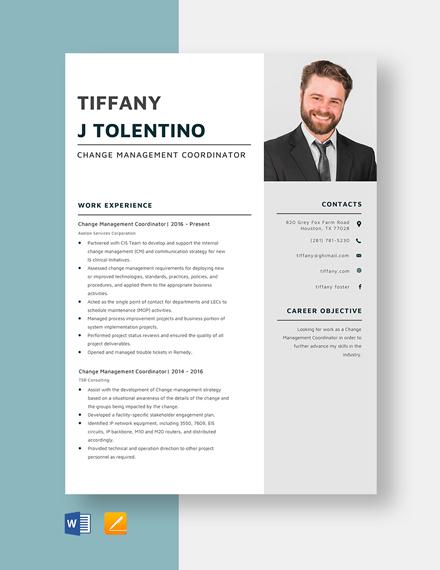 Change Management Coordinator Resume Template