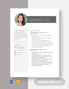 Channel Development Manager Resume Template