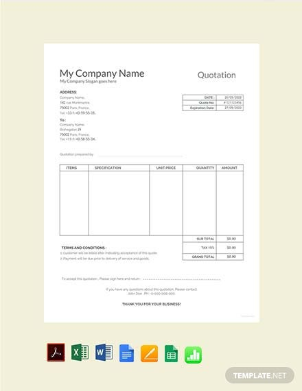 Free Sample Quotation Template