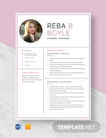Channel Manager Resume Template