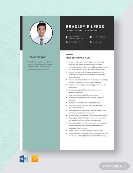 Channel Marketing Manager Resume Template