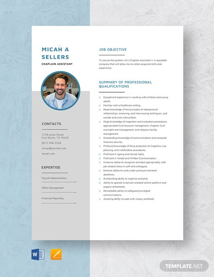 Chaplain Assistant Resume Template
