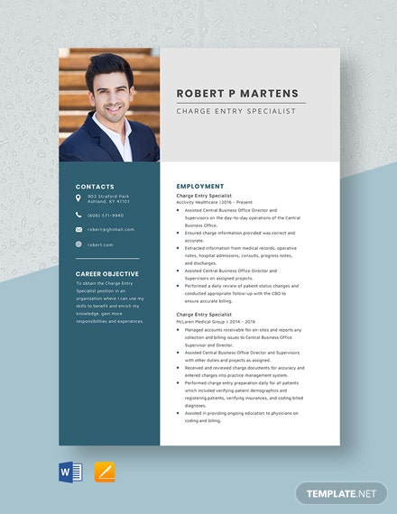 Charge Entry Specialist Resume Template