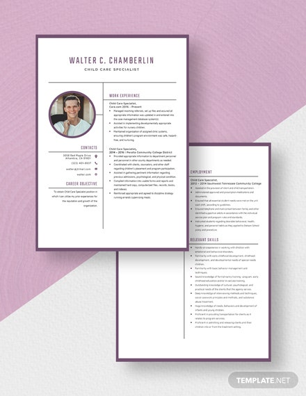 Child Care Specialist Resume Download