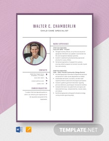 Child Care Specialist Resume Template
