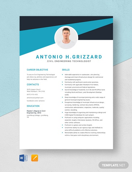Civil Engineering Technologist Resume Template