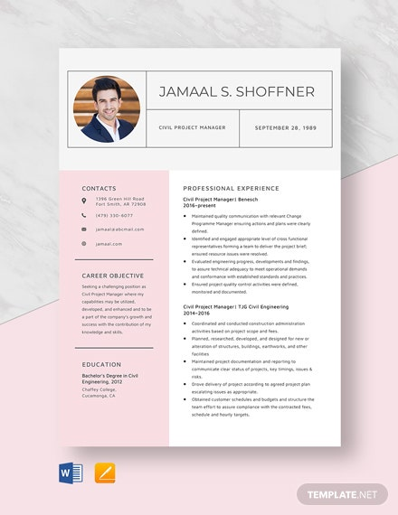 Civil Project Manager Resume Template