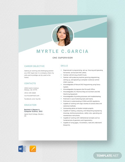 CNC Supervisor Resume Template