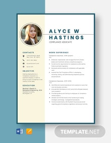 Compliance Associate Resume Template