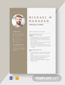 Compliance Attorney Resume Template