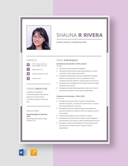 Compliance Coordinator Resume Template