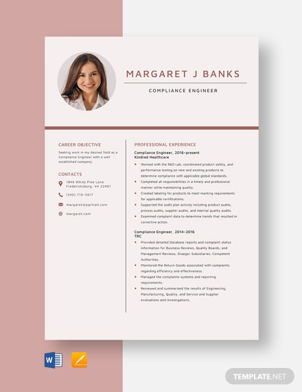 Compliance Engineer Resume Template