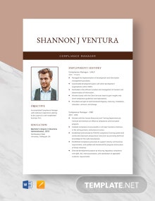 Compliance Manager Resume Template