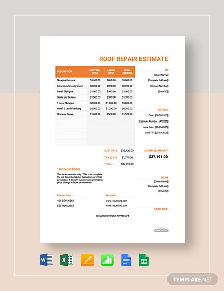 Free Roof Repair Estimate Template