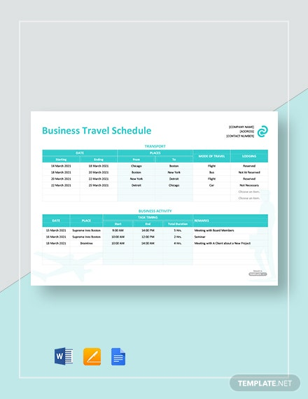 Free Business Travel Schedule Template