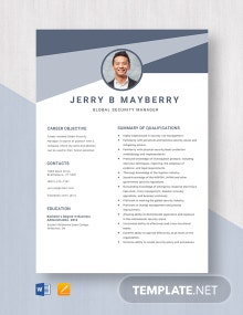 Global Security Manager Resume Template