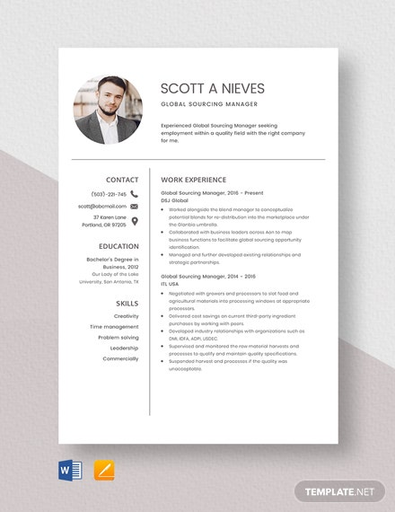 Global Sourcing Manager Resume Template