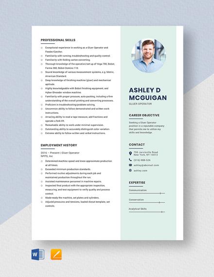 Gluer Operator Resume Template