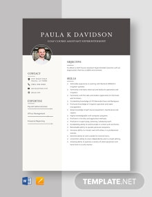 Golf Course Assistant Superintendent Resume Template