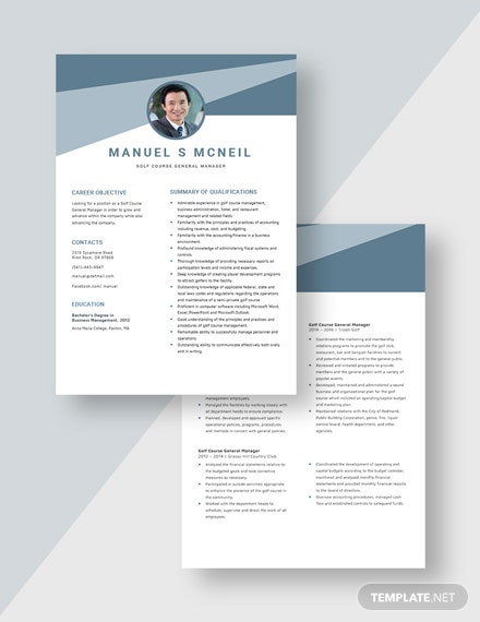 Golf Course General Manager Resume Download
