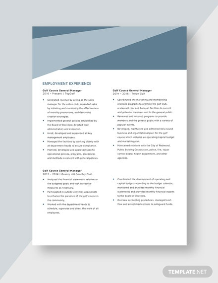 Golf Course General Manager Resume Template