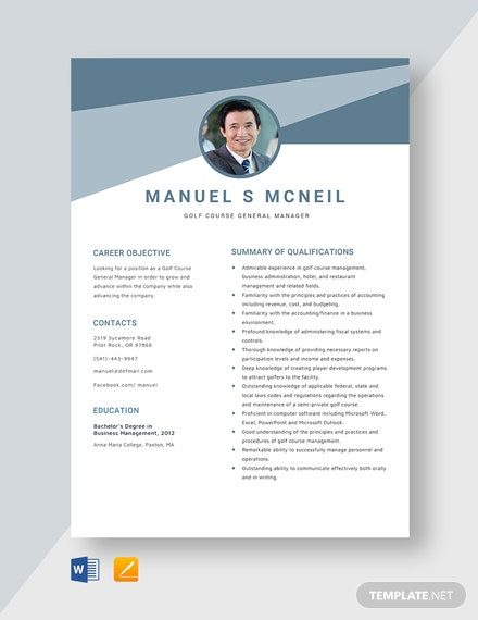 Golf Course General Manager Resume