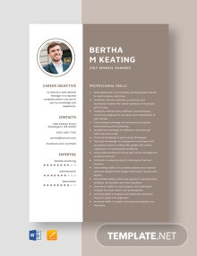 Golf General Manager Resume Template