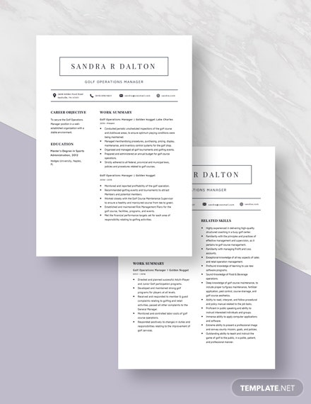 Golf Operations Manager Resume  Download