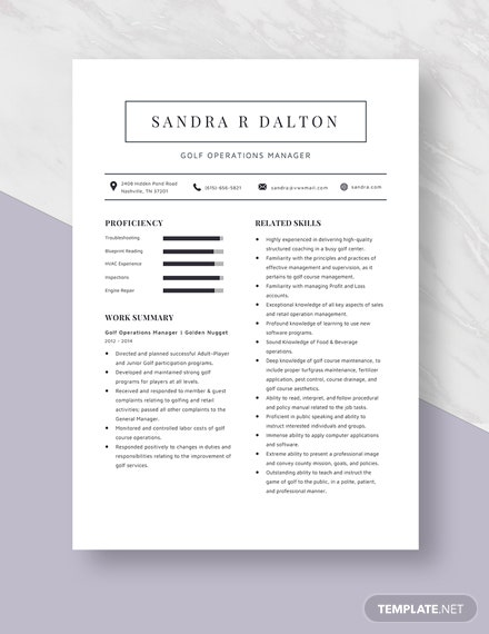 Golf Operations Manager Resume  Template