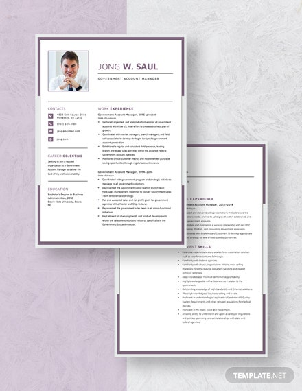 Government Account Manager Resume  Download