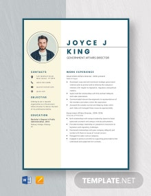 Government Affairs Director Resume Template