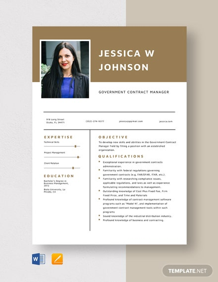 Government Contract Manager Resume Template