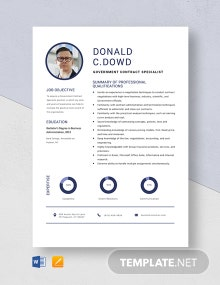 Government Contract Specialist Resume Template