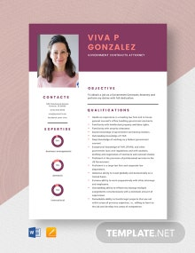 Government Contracts Attorney Resume Template