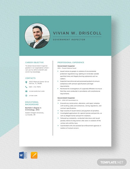 Government Inspector Resume Template