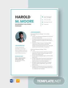 Government Relations Manager Resume Template