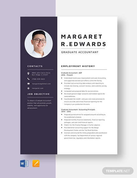 Graduate Accountant Resume Template