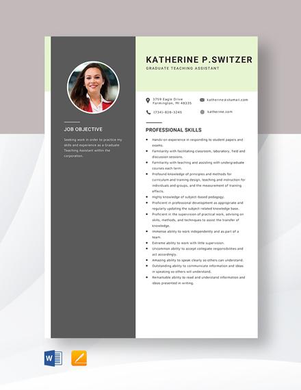 Graduate Teaching Assistant Resume Template