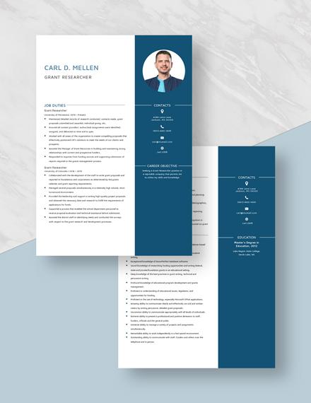Grant Researcher Resume Download