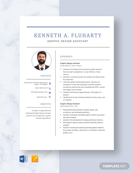 Graphic Design Assistant Resume Template