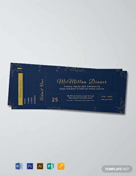 Free Dinner Ticket Template