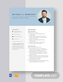 Grocery Stock Clerk Resume Template