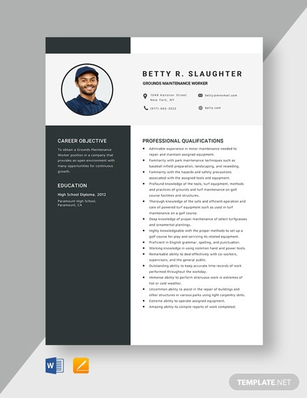 Grounds Maintenance Worker Resume Template