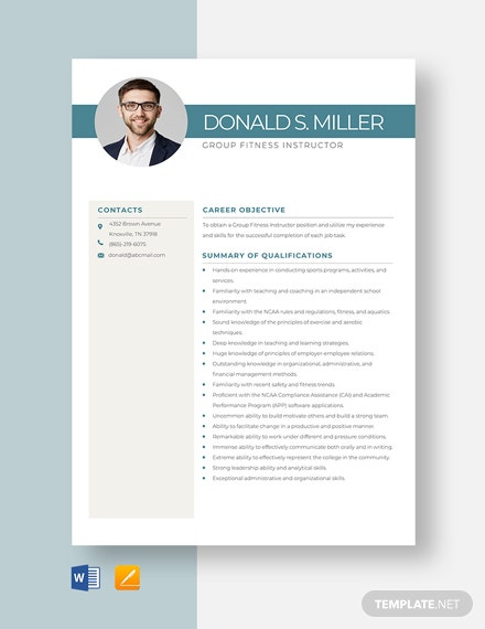 Group Fitness Instructor Resume Template
