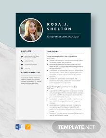 Group Marketing Manager Resume Template